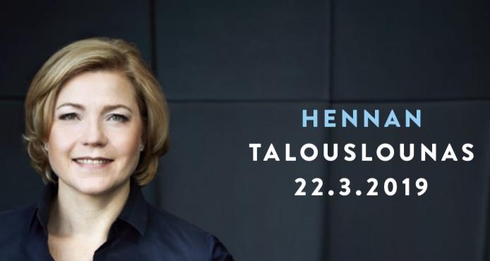 """Henna Virkkunen. Vieressä teksti """"Hennan talousaamiainen 22.3.2019""""."""
